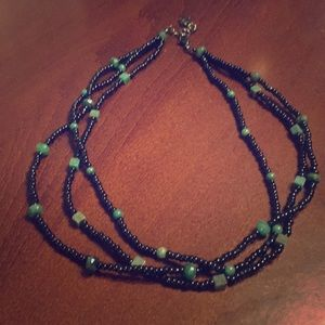 Jewelry - Black and Green Beaded Necklace